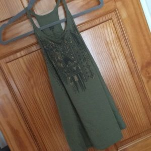 Billyabong green Tank Top with Gold Accents.